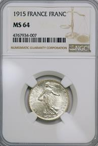 World Coins - France. Republic. Silver 1 Franc 1915A. NGC MS64