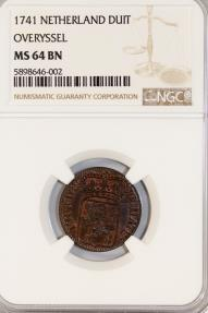 World Coins - Netherlands. Overyssel. AE Duit 1741. NGC MS64 BN