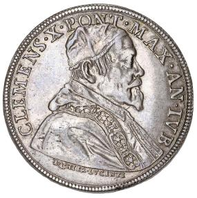 World Coins - ITALY. Papal States. Pope Clemente X (1670-1676). AR Piastra 1675