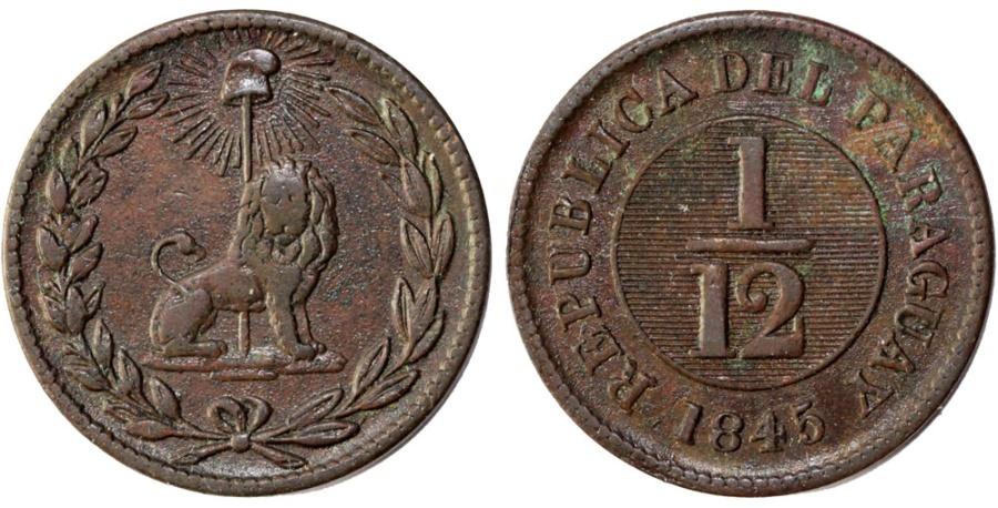 World Coins - Paraguay. Republic. AE 1/12 Real 1845. Scarcer mint issue VF