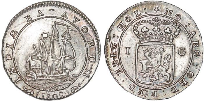 World Coins - INDONESIA, Colonial. Dutch East Indies. Batavian Republic (1799-1806). AR Gulden 1802. AU, Scarce