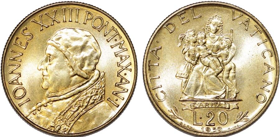 World Coins - Vatican City. Joaness XXIII. Al-Br 20 Lire 1959. Caritas. BU