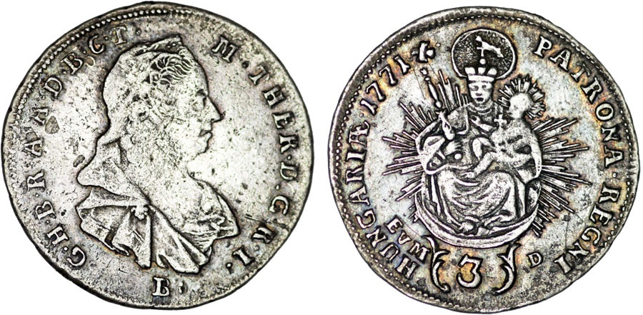 World Coins - H.R.E. Hungary. Queen M. Theresa (1740-1780). AR 3  Krajcar 1771 B-EVM.  VF.