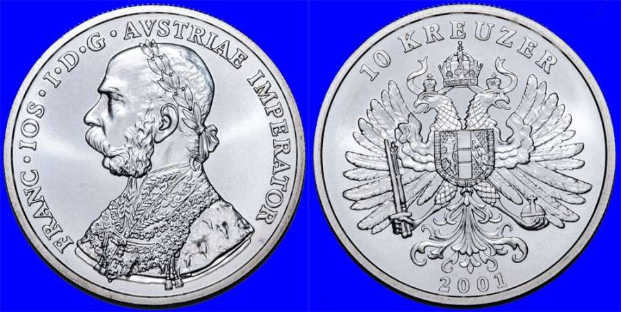 World Coins - Autria. 1 oz. Restrike of Famous 10 Keuzer 2001. Proof