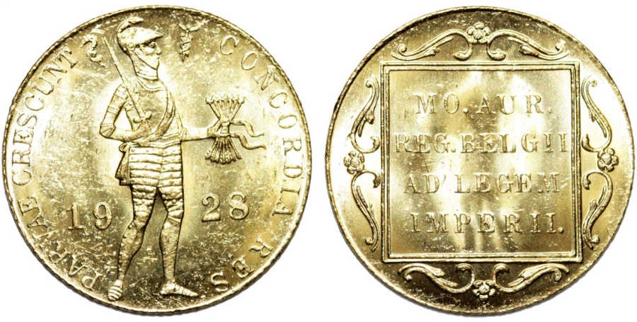 World Coins - Netherlands East Indies. Gold Ducat 1928.  Type: Seahorse and Caduceus. BU