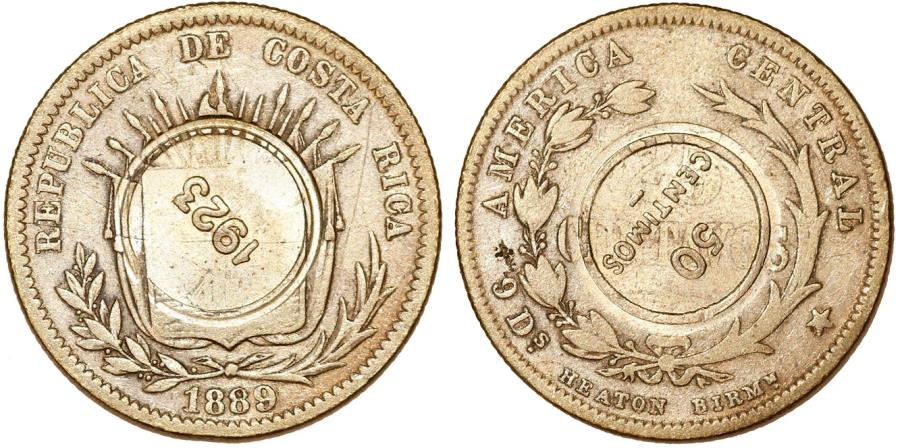 World Coins - Costa Rica. Republic. 50 centimes type VIII C/S coinage 1923 on 25 Cents 1889. Chioce XF