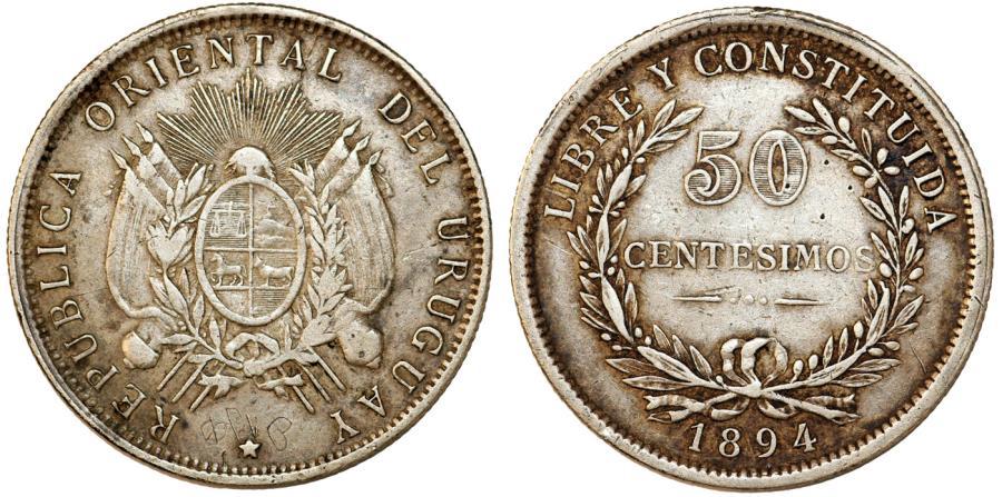 World Coins - Uruguay. Republic. AR 50 Centesimos 1894. Choice VF, lightly toned.