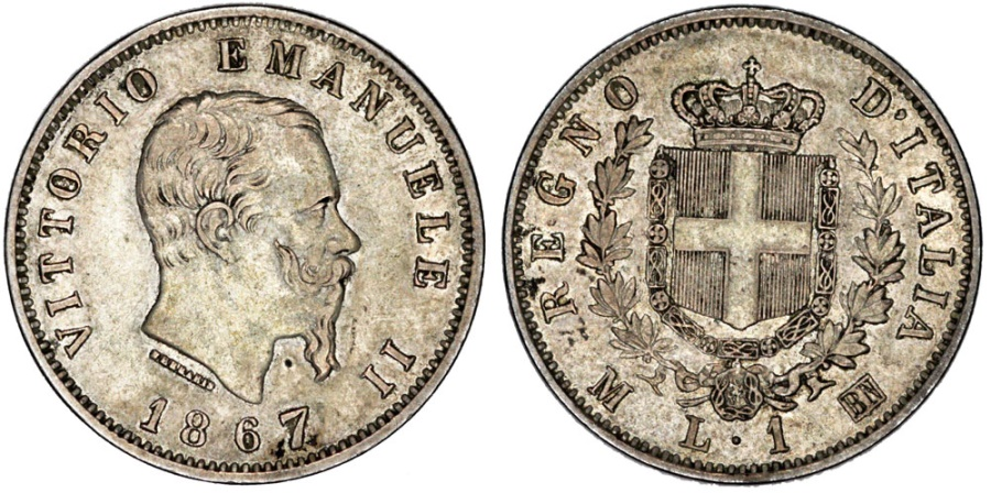 World Coins - Kingdom of Italy. Vittorio Emanuele II. AR 2 Lire 1867 M BN. VF+/XF, toned