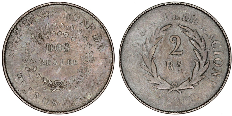 World Coins - Argentina. Province: Buenos Aires. AE 2 Reals 1840. aVF