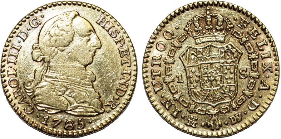 World Coins - Spain. Carlos III (1759-1788). Gold Escudo 1785 M-MF. Nice XF