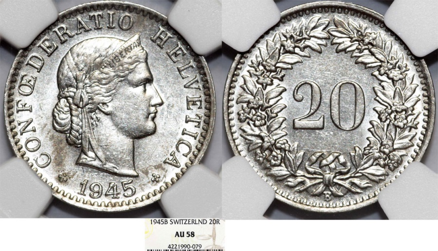 World Coins - Switzerland. Federation issue. CU-NI 20 Rappen 1945B. NGC AU58