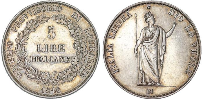 World Coins - ITALY, Governo Provvisorio di Lombardia. AR 5 Lire 1848. Nice AU.