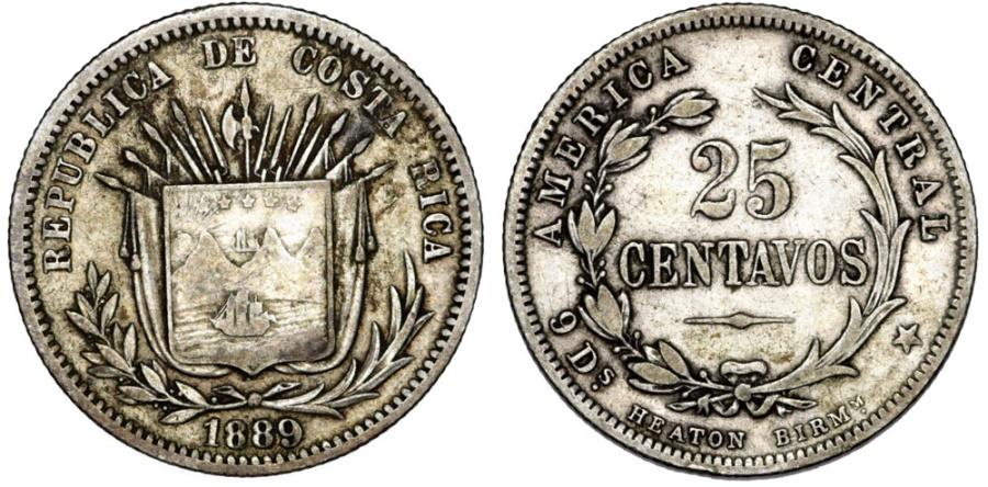 World Coins - Costa Rica. Republic. AR 25 Cents 1889. Nice VF.