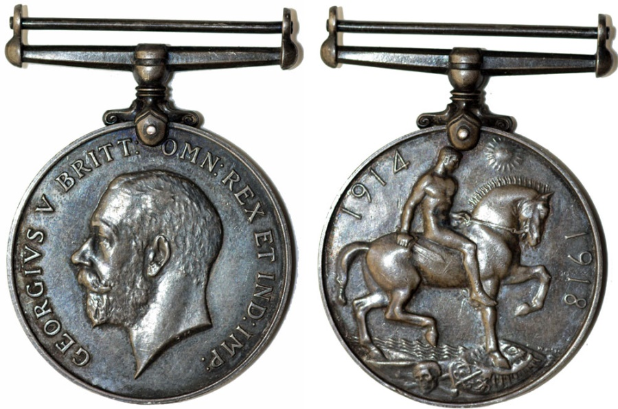 World Coins - Great Britain. George V.  Silver British War Medal 1914-1918, XF , toned, assigned.