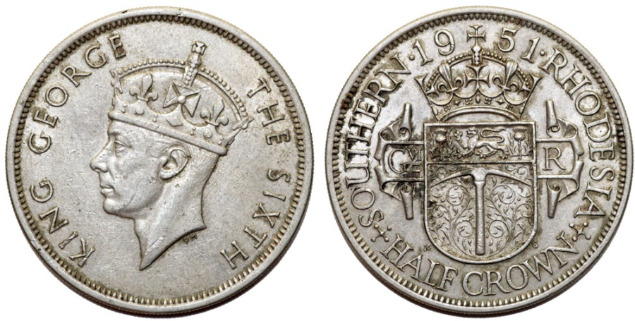 World Coins - British Southern Rhodesia. CuNi ½ Crown 1951. AU