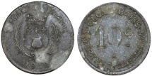 World Coins - France. Olonzac. Emergency Series Token: Zinc 10 Cent 1918. About VF, unclean
