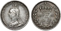 World Coins - Great Britain. Empress Victoria. AR 3 Pence 1891. XF