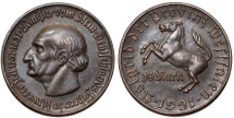 World Coins - Germany. Emergency Coins. Westfalia of Weimar Republic. AE 10 Mark 1921. UNC