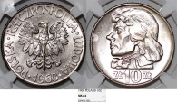 World Coins - Poland PRL. CuNo 10 Zloty 1960. T Kosciuszko. NGC MS64, rare date