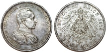 World Coins - Germany Empire. Prussia. Wilhelm II (1888-1918). Silver 5 Mark 1914 A. Toned Choice XF