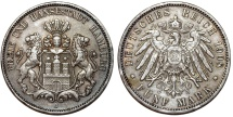 World Coins - Germany. Empire Period. City of Hamburg. AR 5 Mark 1908 J. Toned Choice  XF