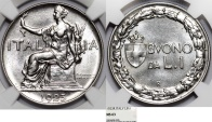 World Coins - Italy. Kingdom. Vittorio Emanuele III (1900-1946). 1 Lira 1923 R. NGC MS63