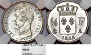 World Coins - France. king Charles X (1824-1830). AR Half  Franc 1828 A. NGc MS61