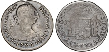 World Coins - Mexico. Charles III of Spain (1760-1788) AR 2 Reales 1774 Mo-FM. aVF/Fine