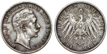 World Coins - Germany Empire. Prussia. Wilhelm II (1888-1918). Silver 3 Mark 1909 A. ABout XF