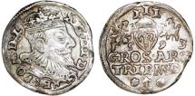 World Coins - Litva/Poland. Rzeczypospolita. Vilnius. king Sigismund III. AR 3 Gross 1593, Choice VF