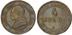 World Coins - Italian Papal States. Rome. Pope Pius IX (1846-1878). AE 4 Soldi 1868 R. VF