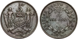 World Coins - British North Borneo. Victoria (1840-1901) AE SCARCE Cent 1887H. Choice XF/AU