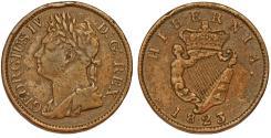 World Coins - Ireland. Geroge IV. CU 1/2 Penny 1823. Good  VF