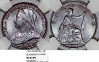 World Coins - Great Britain. Queen Victoria (1837-1901) Cu 1/4 Penny (Farthing) 1901. NGC MS64 BN