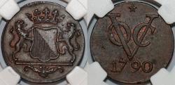 World Coins - Netherlands East Indies. Dutch Indies Company. Utrecht. Cu 2 Duit 1790 VOC. NGC AU55 BN, beauty!