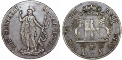 World Coins - Italian States. Genoa. The Biennial Doges (1528-1797). Silver 8 Lire 1796. Choice XF, toned.