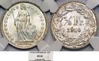 World Coins - Switzerland. Federation. AR 1/2 Franc 1910. NGC MS64
