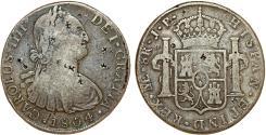 World Coins - Peru as Spanish Colony. Carlos IV (1788-1808 ). AR 8 Reales 1804 ME IJ. Fine+