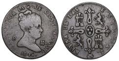 World Coins - Spain. Isabel II. CU 8 Maravedis 1845. AVF