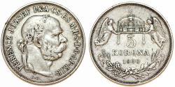 World Coins - Austria-Hungary. Franz I Josef (1848-1916). Silver 5 Korona 1900 KB. VF