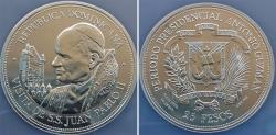 World Coins - Dominicanan Republic. Silver 1979. Visit of Pope John Paul II. NGC PF66UC