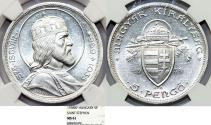 World Coins - Hungary. Regency Period. Silver 5 Pengo 1938. NGC MS61