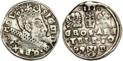 World Coins - Poland. Rzeczypospolita. Bromberg. king Sigismund III. AR 3 Gross 1599-B. About VF.
