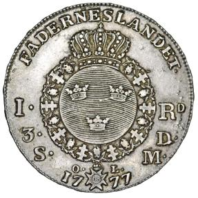 World Coins - Sweden. King Gustav III (1771-1792). AR Riksthaler 1777 OL. XF