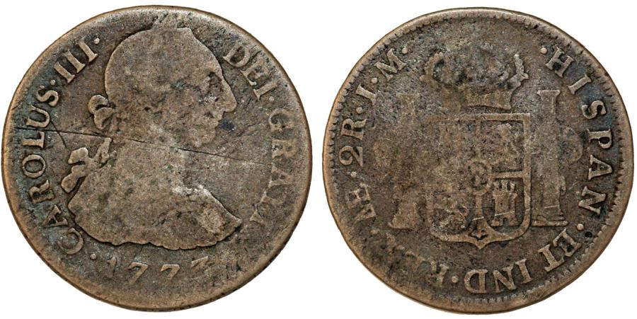 World Coins - Peru as Spanish Colony. Carlos III. 1759-1788 . AR 2 Reales 1773 MJ. Fine, toned