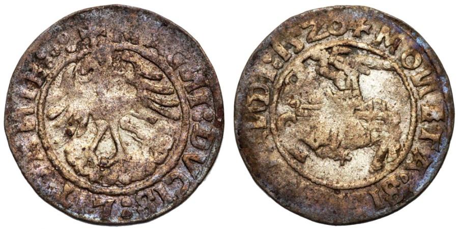 World Coins - Lithuania. Sigismund I Jagiello (1506-1546). Silver Half Gross 1520. aVF