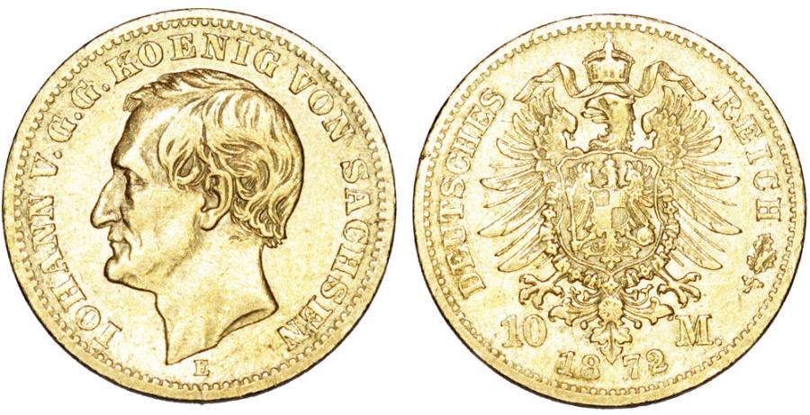World Coins - Germany. Saxony. Johann V. Gold 10 Mark 1872 E. XF