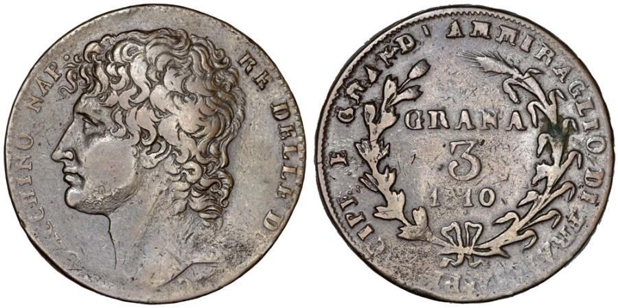 World Coins - Italy. Naples. Napoleonic Period. Gioacchino Murat (1808-1815) AE 3 Grana 1810. Nice Choice VF.