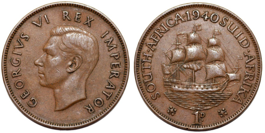 World Coins - South Africa as British Colony. George V. BRZ 1 Penny 1940. Choice XF/AU