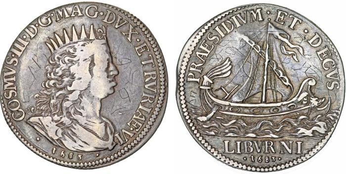 World Coins - ITALY: Toscana. Cosimo III de' Medici (1670-1723). AR Mezzo Tollero 1683. VF/XF, toned